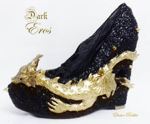 Load image into Gallery viewer, Dark Eros Dragon Heels Gold Heart Spikes Custom Sculpt Shoe Kraken heel Size 3 4 5 6 7 8 Wedge Fantasy Mythical Bridal Wedding Alternative