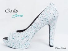 Load image into Gallery viewer, Oodles Jewels Bridal White Teal Blue Green Chunky Glitter Wedding Custom Personalized Women Peep Toe Glitter Shoe High Heel Size 3 4 5 6 7 8