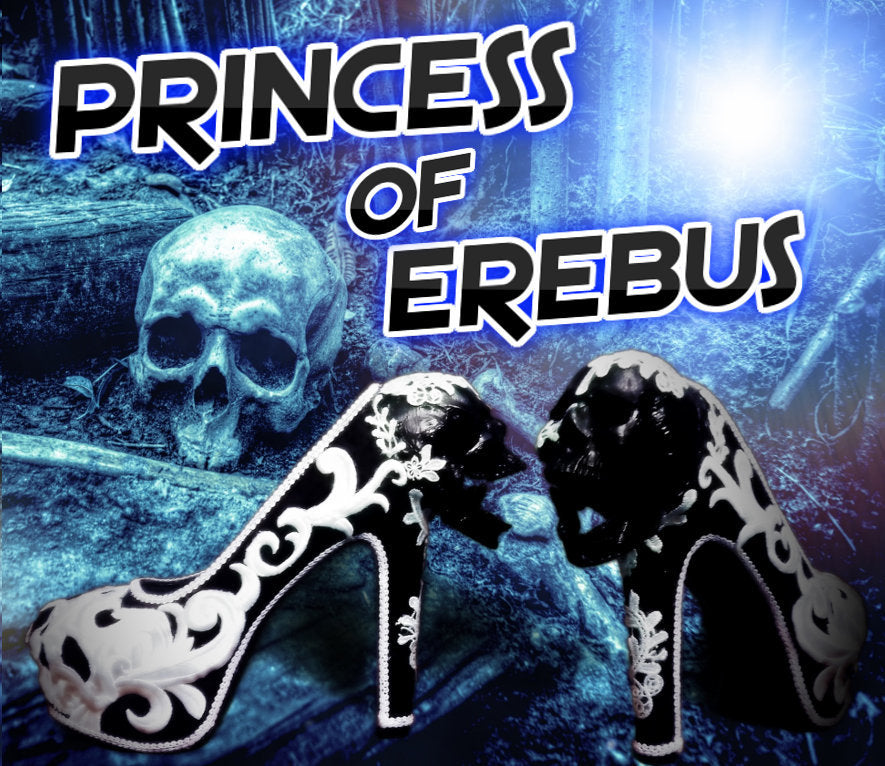 Princess of Erebus Heels PoE Bridal Gothic lace Skull Goth Wedding Custom Shoe Size 3 4 5 6 7 8 Halloween Alternative Kraken Cosplay