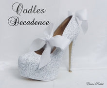 Load image into Gallery viewer, Oodles Decadence Bridal White Silver Glitter Ribbon Mary Jane Strap Wedding Custom Personalized Women Peep Toe Shoe Heel Size 3 4 5 6 7 8