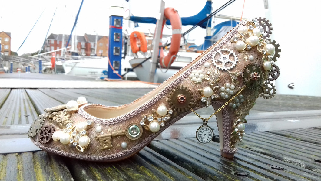 Forever in Time Steampunk Victorian Cog Gears Heels Personalized Muses Bronze Silver Gold Rose Metallic Custom Shoe High Size 3 4 5 6 7 8