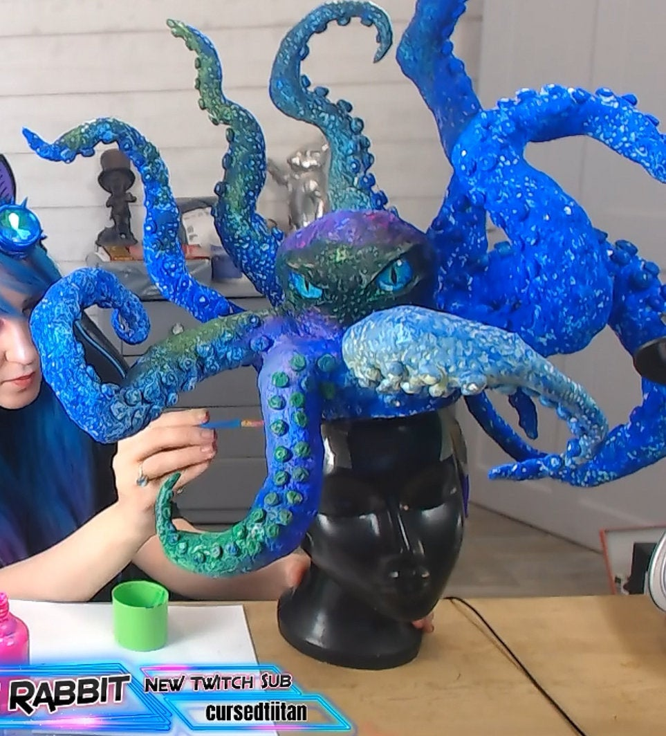 The Kraken Hat Headdress Fascinator Races Hand Steampunk Mermaid Black Blue Sea Abyss Creature Monster Mythical Octopus Squid Headband Piece