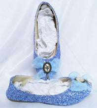 Load image into Gallery viewer, Alice in Wonderland Glow in the Dark Bottle Charm Blue Glitter Custom Dolly Ribbon Shoe Flat Wedding Bridal Size 3 4 5 6 7 8 Wedge Heel