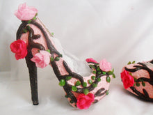 Load image into Gallery viewer, Women Fantasy Summer Flower Custom Hand Sculpt Paint Tree Branch Leaves Pink Green Blue Shoe Heel Size 3 4 5 6 7 8  High Heels Platform UK