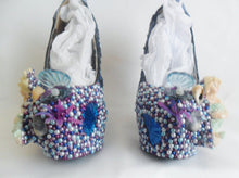 Carica l'immagine nel visualizzatore di Gallery, Mermaid Heels Custom Hand Sculpt Paint Purple Blue White Shoe Size 3 4 5 6 7 8  High Platform Pearls Shell Sea Sequins Starfish Plant Clam