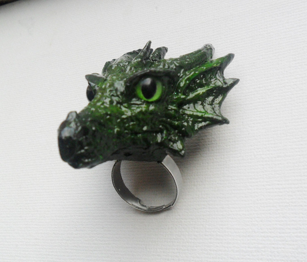 Earth Dragon Head Ring Custom Hand Sculpt Paint Earth Green Yellow Reptile Adjustable Mens Womens Unisex Jewelry goth gothic rockabilly