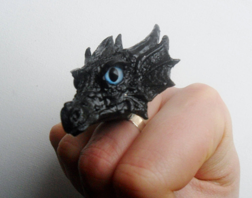 Dragon Head Ring Custom Hand Sculpt Paint Black Multicolour Adjustable Mens Womens Unisex Jewelry Goth Gothic rockabilly alternative