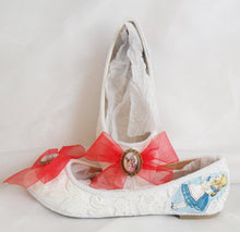 Load image into Gallery viewer, John Tenniel's Classic 1865 Alice In Wonderland Lace Fabric Custom Dolly Ribbon Blue Shoe Flat Size 3 4 5 6 7 8 Wedding Bridal UK Mad Women