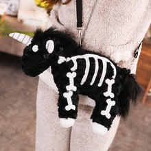 Load image into Gallery viewer, Dark Punk unicorn backpack Gothic Rock pink Plush flying horse Skeleton stuffed Crossbody Bag high quality gift for friends
