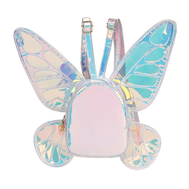 Fashion Women's Laser Holographic Leather Mini Backpack Butterfly Angel Wings Daypack for Girls Travel Casual Daypack School Bag