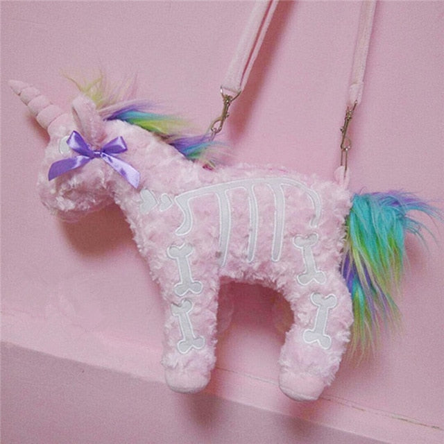 Dark Punk unicorn backpack Gothic Rock pink Plush flying horse Skeleton stuffed Crossbody Bag high quality gift for friends