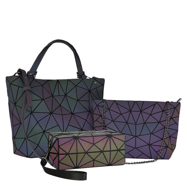 Women Handbags 3 Pcs Bag Set Crossbody Bags For Women Geometric Luminous Shoulder Bag Female Purse And Handbag Tote Holographic