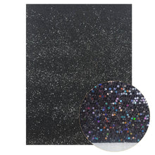 Load image into Gallery viewer, 22*30cm Black Chunky Glitter Fabric Textured Faux Leather Sheets A4 size DIY Earring Hair Bow Accessories Handbag Materials