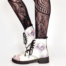 Load image into Gallery viewer, Brand Big Size 43 Cool Skulls Butterfly Rose Flowers Printed Gothic Style Ankle Booties Fashion Boots Street Women Shoes