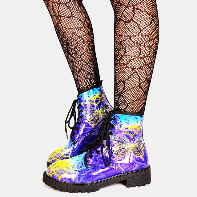 Brand Big Size 43 Cool Skulls Butterfly Rose Flowers Printed Gothic Style Ankle Booties Fashion Boots Street Women Shoes