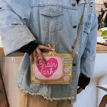 Load image into Gallery viewer, Cute Fashion Laser Cartoon TV Shape Letters Girl's Mini Shoulder Bag Ladies Crossbody Messenger Purse Women's Handbag