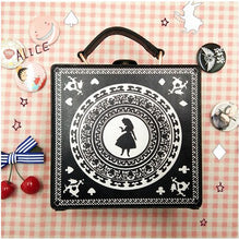 Cargar imagen en el visor de la galería, Alice in Wonderland Girl Lolita Gothic Handbag Small box Shoulder Bag Black Messenger Bag Vintage Korean Women's Crossbody Bags