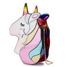 Load image into Gallery viewer, Cute Fantasy Fashion Unicorn Design Pu Leather Laser Girl's Chain Purse Handbag Shoulder Bag Crossbody Mini Messenger Bag Flap