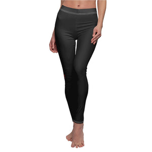 M Logo Women's Casual Leggings (Black w/White Stitch)