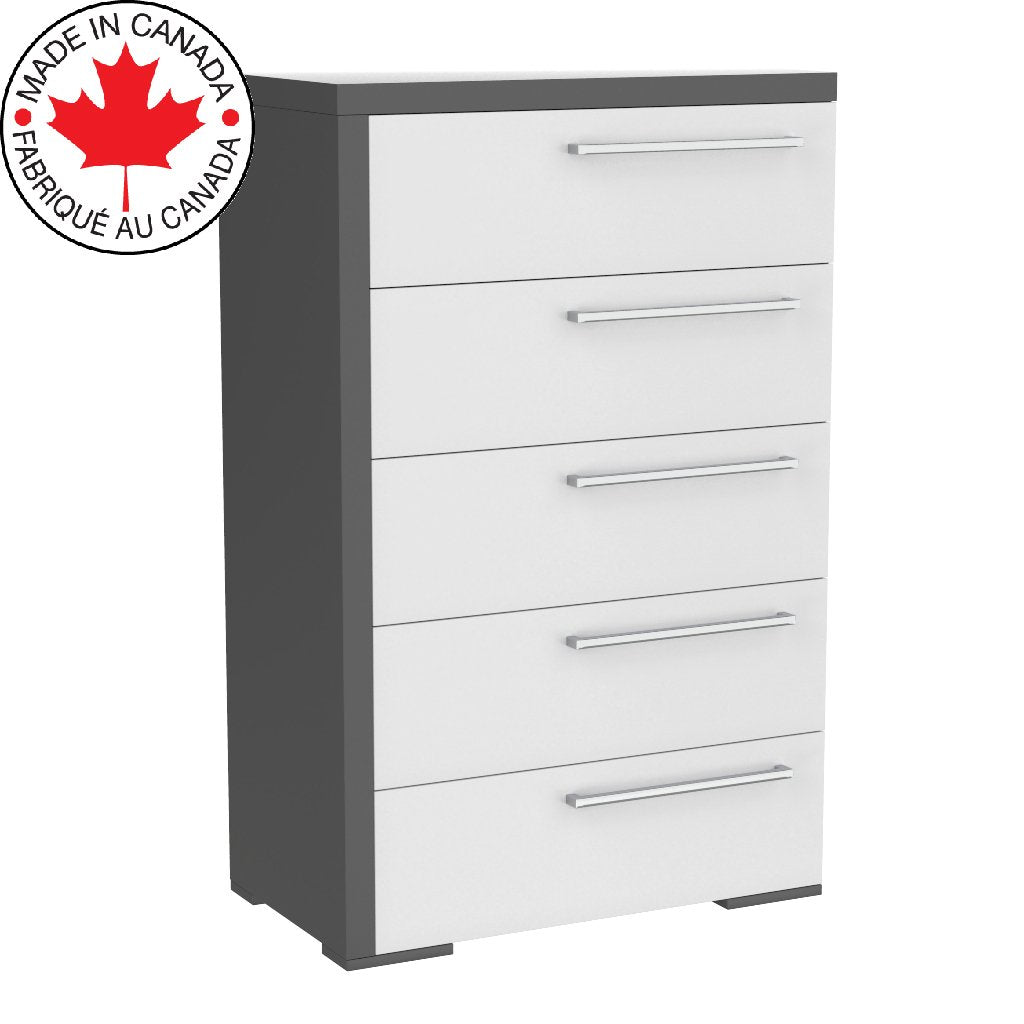 Office drawer 5 - Alpine - Dark gray and white