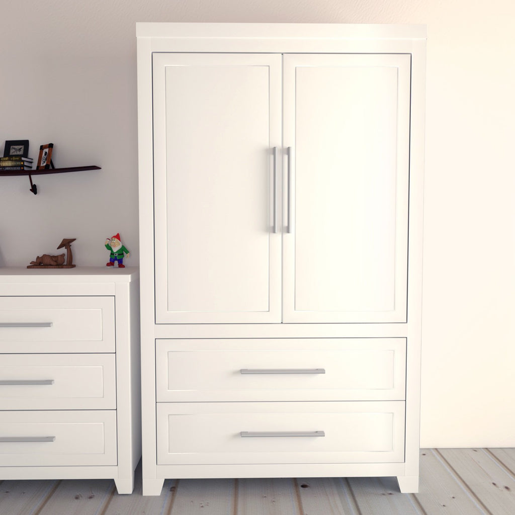 EMMA Armoire- with shelves and 2 drawers, 2 doors, White