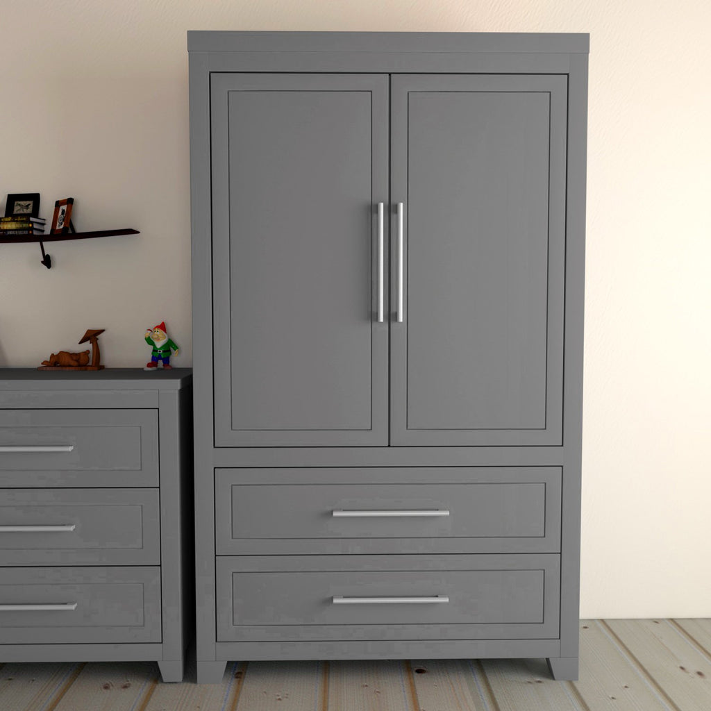 EMMA Armoire- with shelves and 2 drawers, 2 DOORS- Dark Gray