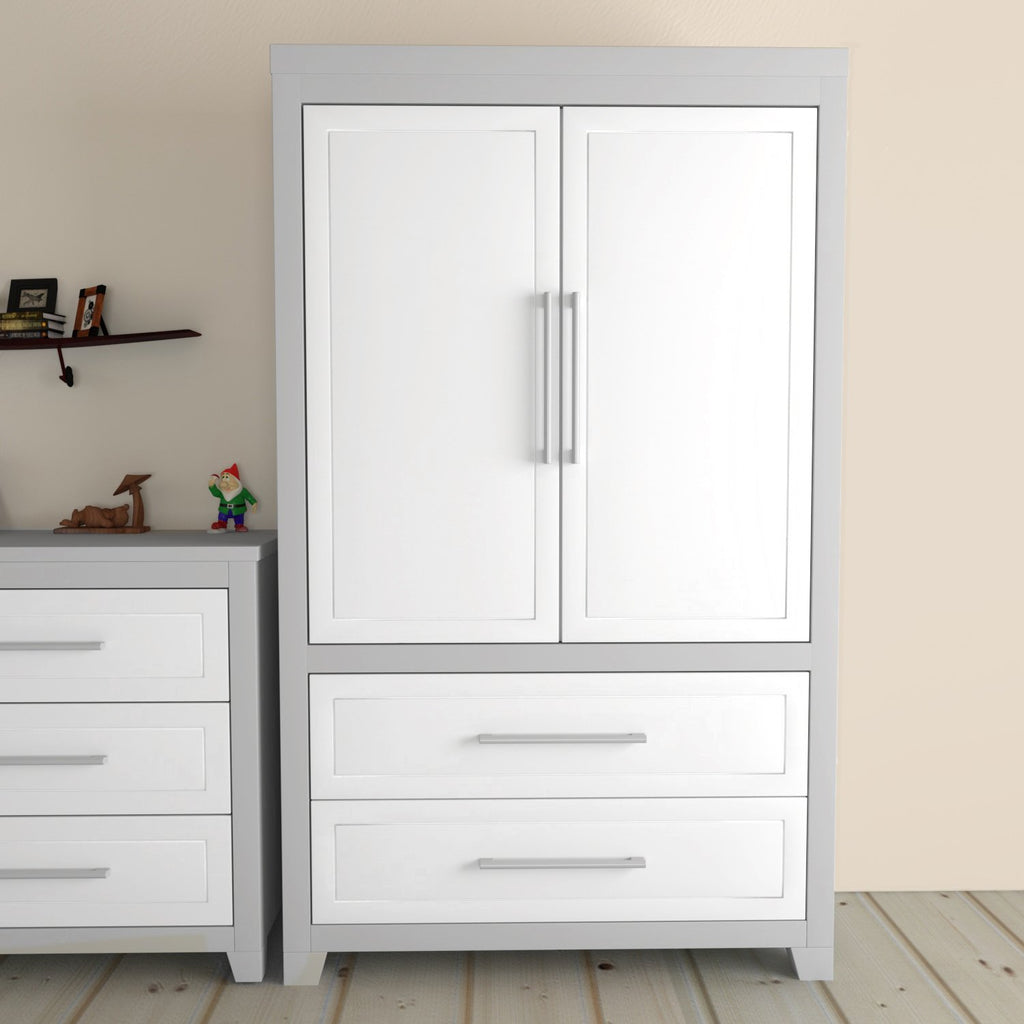 EMMA Armoire- with shelves and 2 drawers, 2 DOORS- Light Gray White