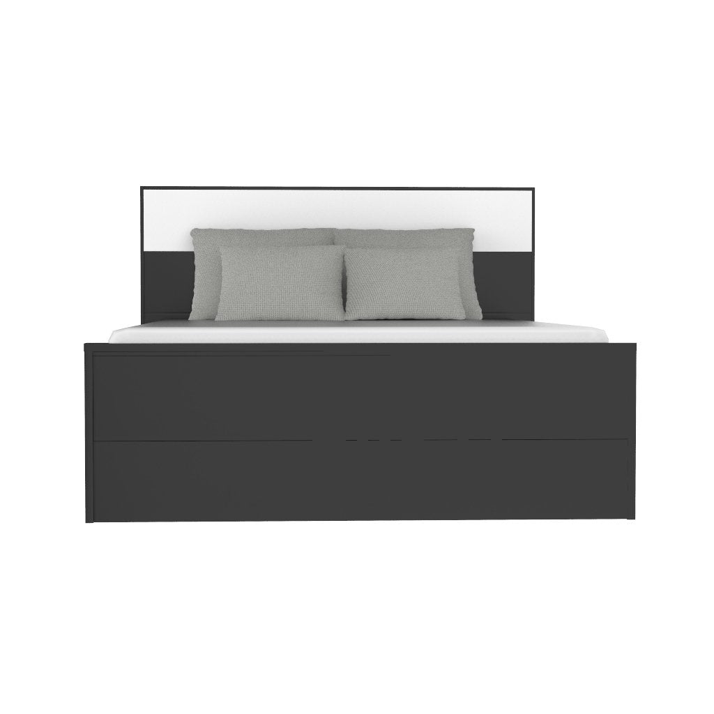 Black and white double bed