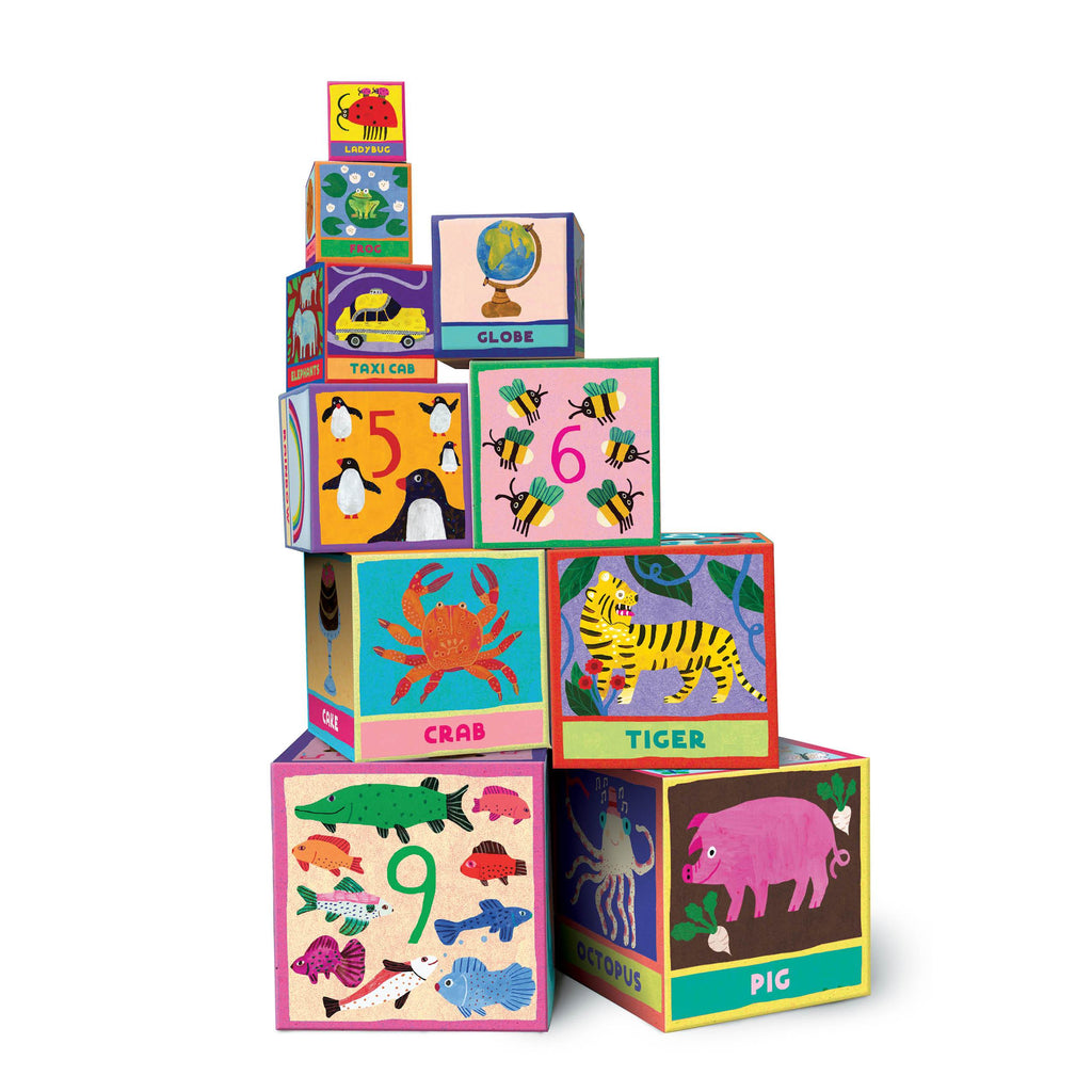 Stacking block tot tower with early reading and illustrations by Monika Forsberg for children two years old and up