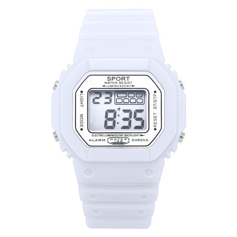 Digital Waterproof Watch Unisex Color White