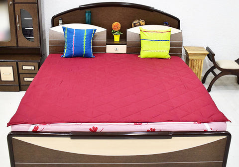 Microfiber Double Bed  Mattress Protector (Maroon, 72 x 78-inch), Quilted King Size
