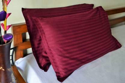 "Cotton 2 Piece Satin pillow Cover Maroon Colour Self Stripe Design Set 28"" x 18"""