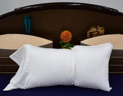 "36""x20"" Plain White Microfibre Pillow with self Stripes White Cotton Pillow Cover Vacuum Packed"