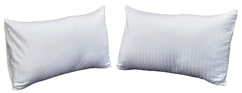 "Set Of 2 Identicle Plain White Microfibre Pillow with self Stripes White Cotton Pillow Cover Set (Vacuum Packed 36""x20"")"