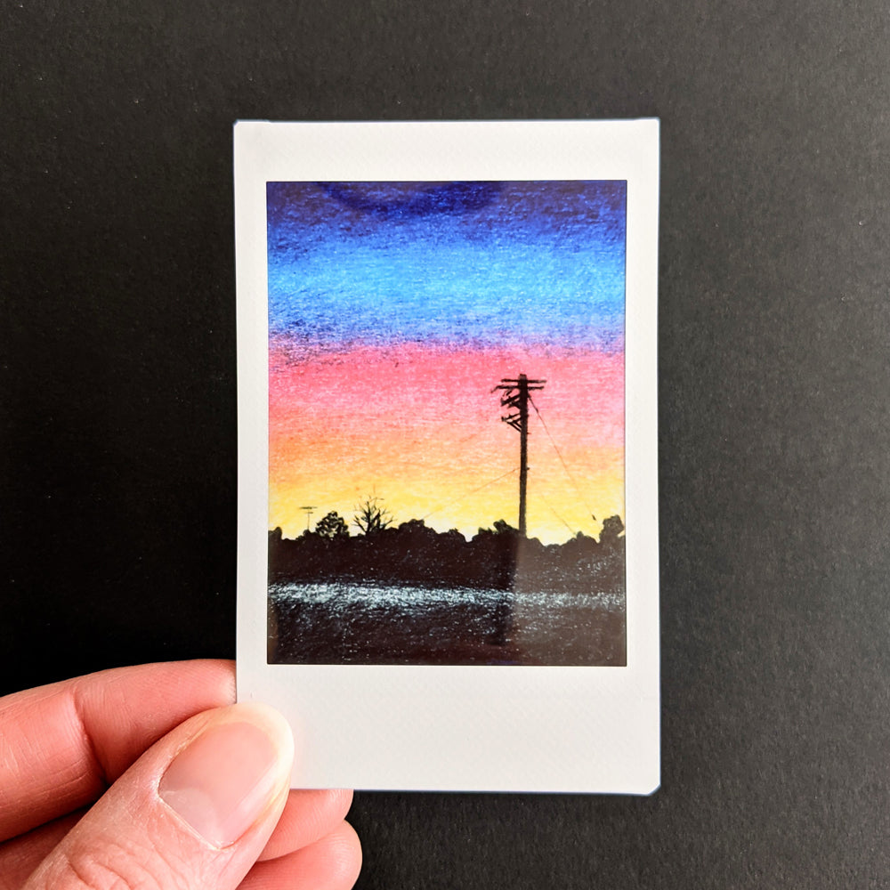 Telephone Pole Sunset Instax Art Print