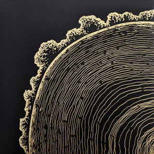 Tree Rings, Gold Ink Original Art
