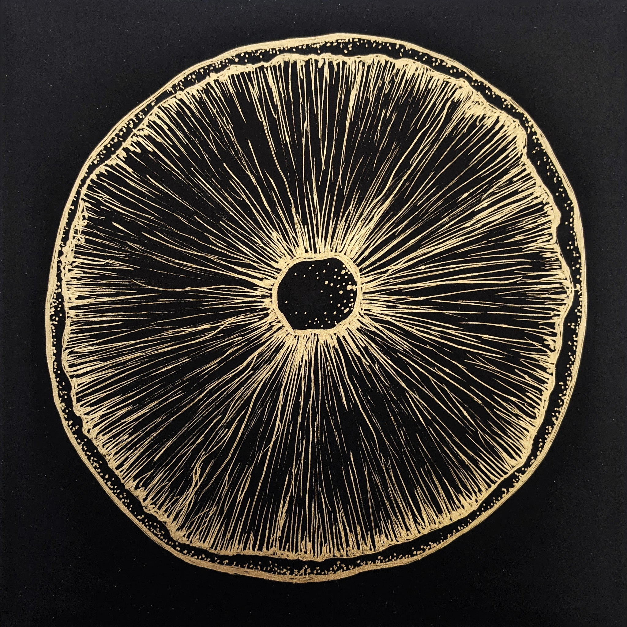 Under a Mushroom Cap, Gold Ink Original Art
