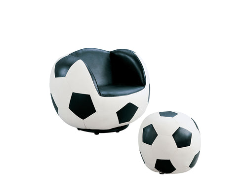 All Star Soccer: White & Black Chair & Ottoman (2Pc Pk) image