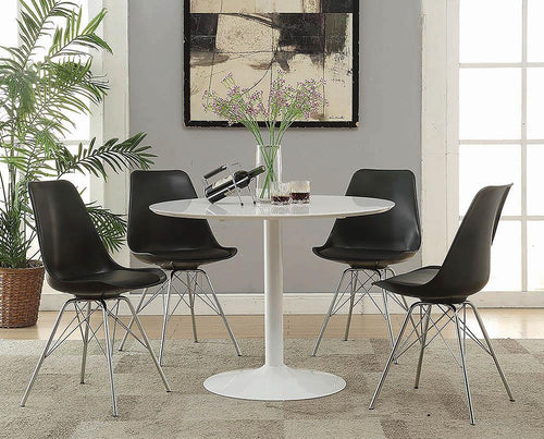 Lowry Mid-Century Modern White Round Dining Table image