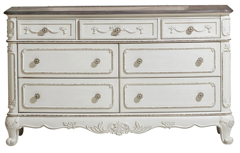 Homelegance Cinderella 7 Drawer Dresser in Antique White with Grey Rub-Through 1386NW-5 image