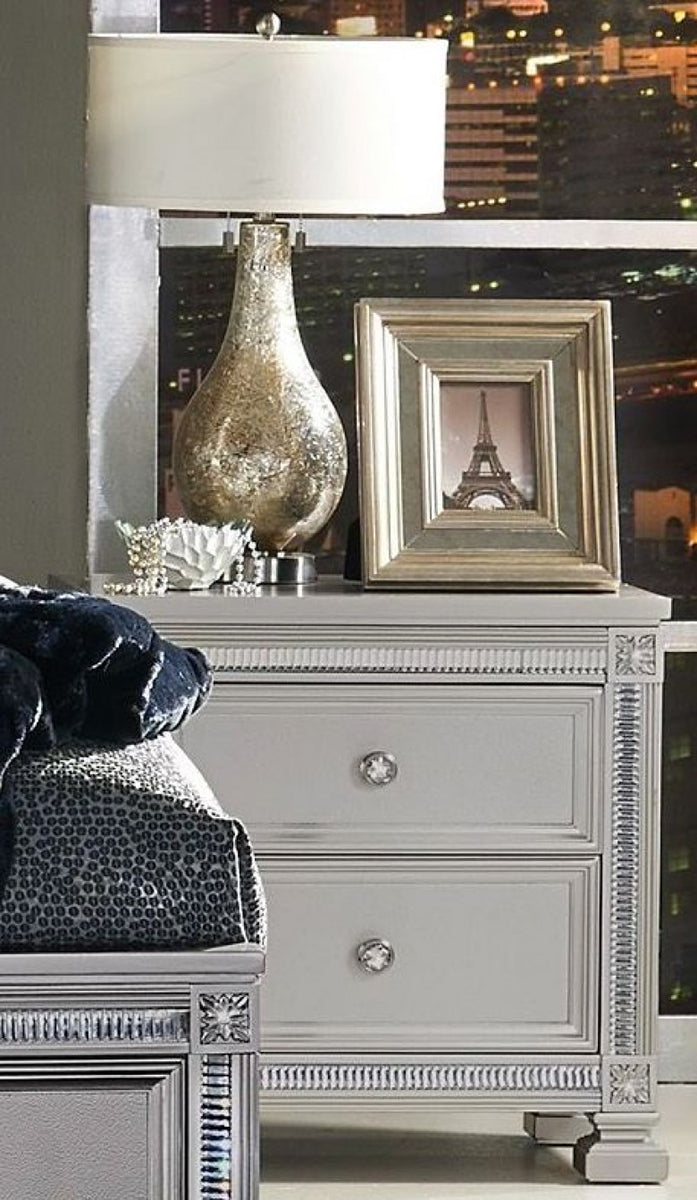 Homelegance Bevelle 2 Drawer Nightstand in Silver 1958-4 image