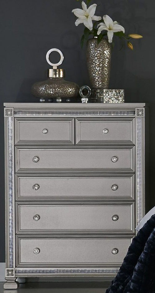 Homelegance Bevelle 5 Drawer Chest in Silver 1958-9 image