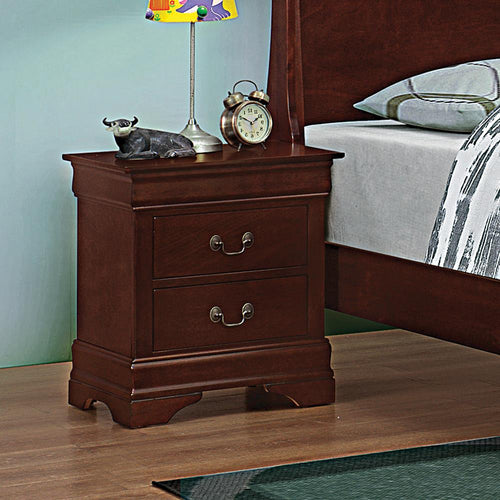 Louis Philippe Red Brown Two-Drawer Nightstand image