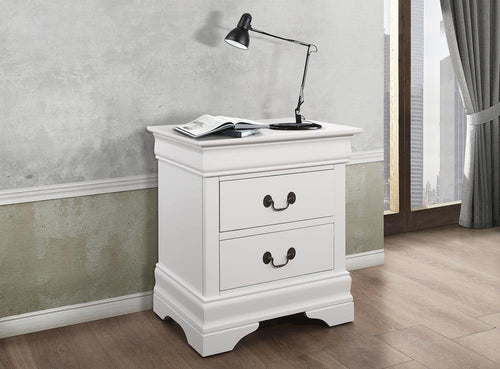 Louis Philippe White Two-Drawer Nightstand image