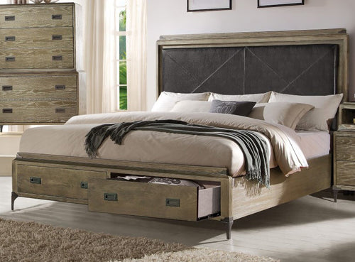 Acme Athouman Queen Panel Storage Bed in Weathered Oak 23920Q image