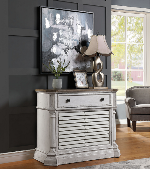 York Shire Antique White & Dark Charcoal Chest (2 Shutter Doors) image