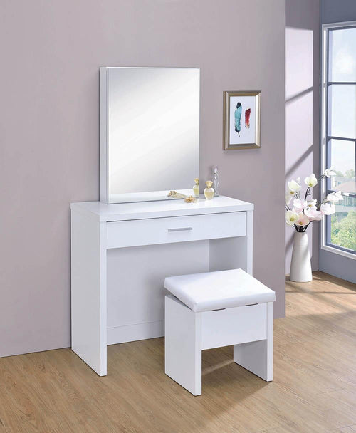 G300290 Contemporary White Vanity and Upholstered Stool Set image
