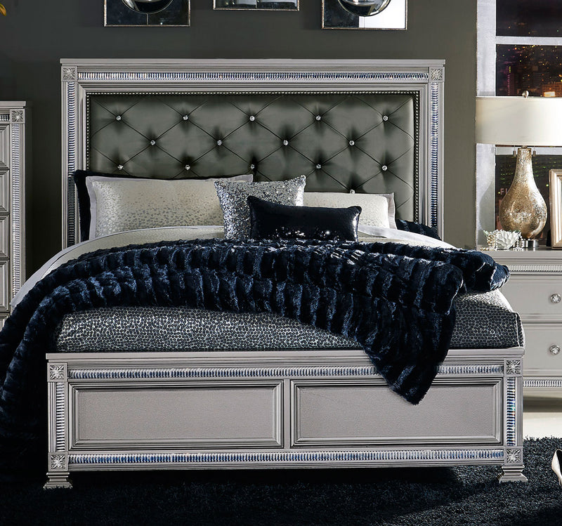 Homelegance Bevelle Queen Upholstered Panel Bed in Silver 1958-1 image