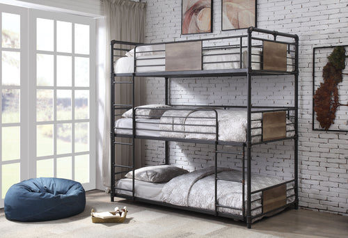 Brantley Sandy Black & Dark Bronze Hand-Brushed Bunk Bed (Triple Twin) image