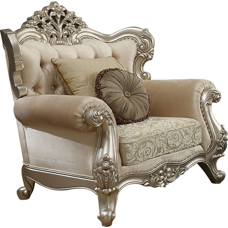 Acme Furniture Bently Chair with 2 Pillows in Champagne 50662 image